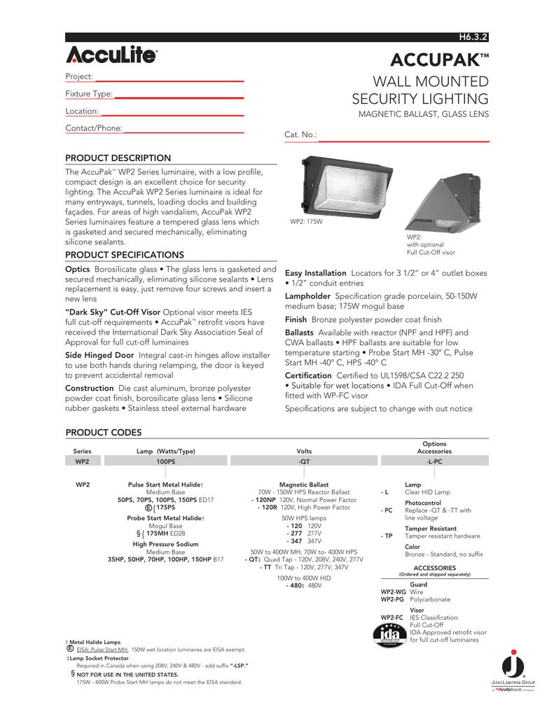 Accupak Juno Lighting Group Electrical Wiring Diagrams 480v Metal Halide 150w Hps