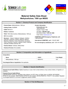 MSDS for Methylcellulose, 1500 cps