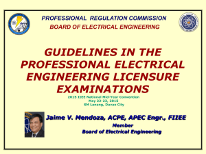 guidelines in the professional electrical engineering licensure