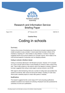 Coding in schools - The Northern Ireland Assembly
