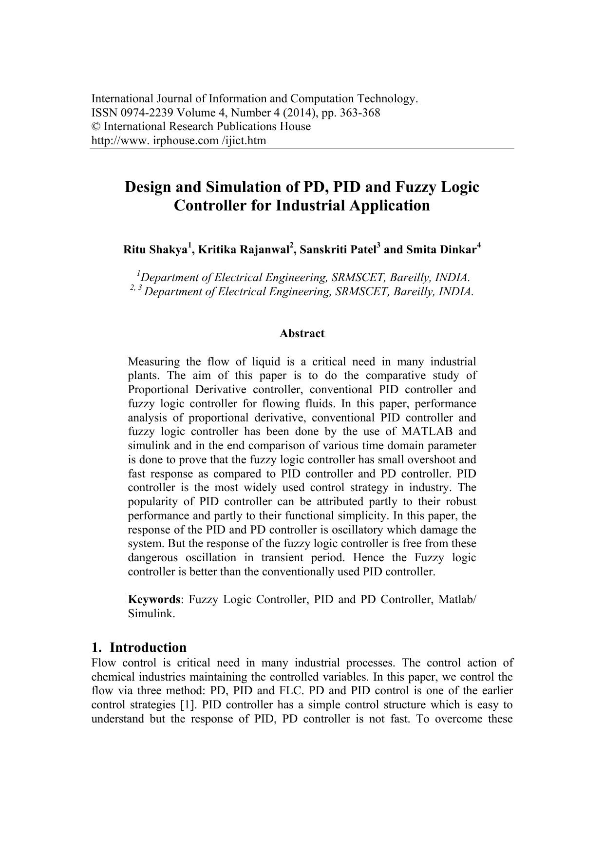 Design and Simulation of PD, PID and Fuzzy Logic Controller for
