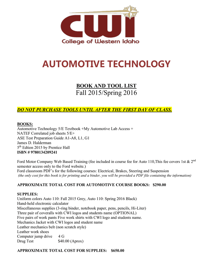 Automotive Technology Book And Tool List