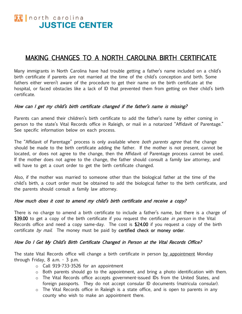 Making Changes To A North Carolina Birth Certificate