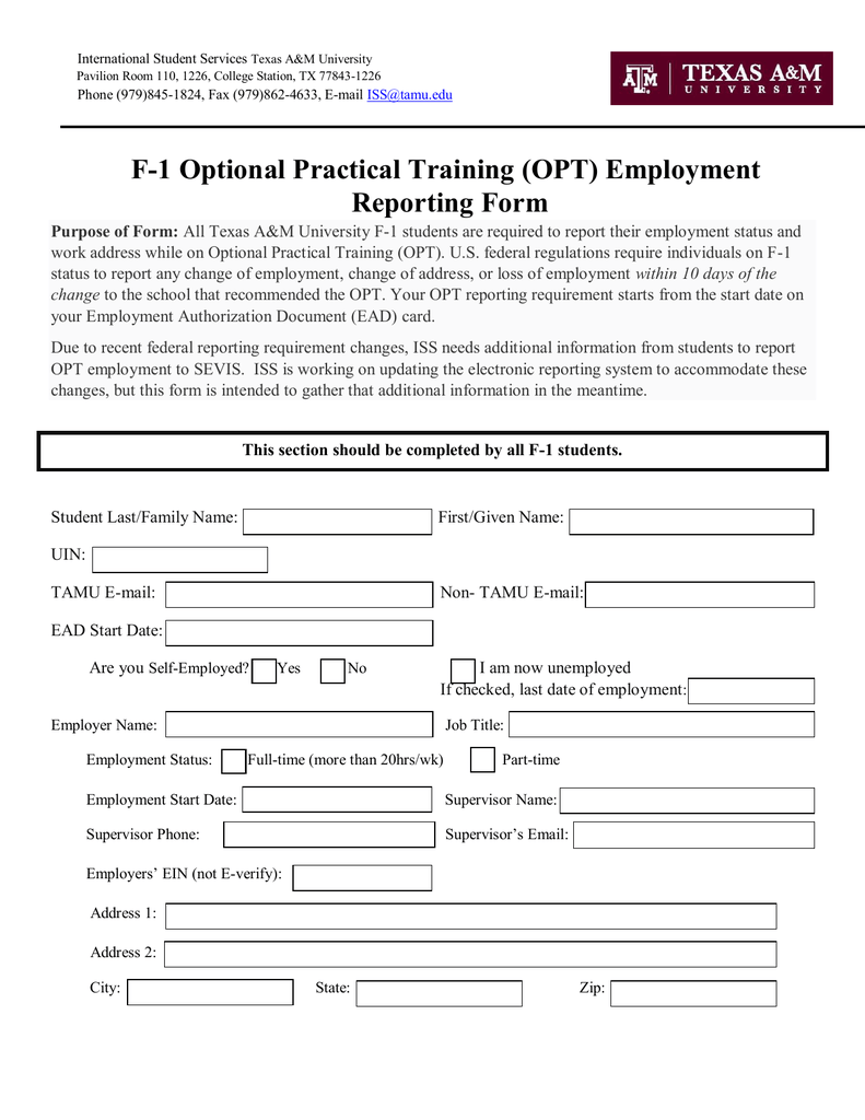 Opt Employment Reporting Form International Student Services
