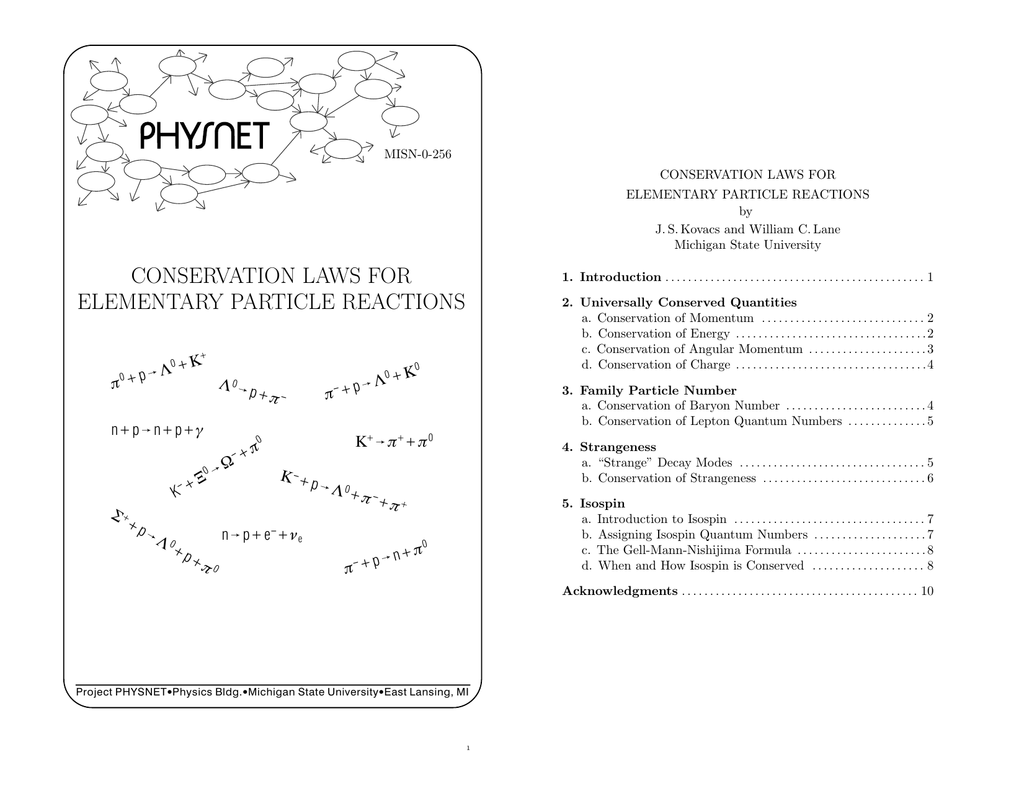 conservation laws for elementary particle reactions
