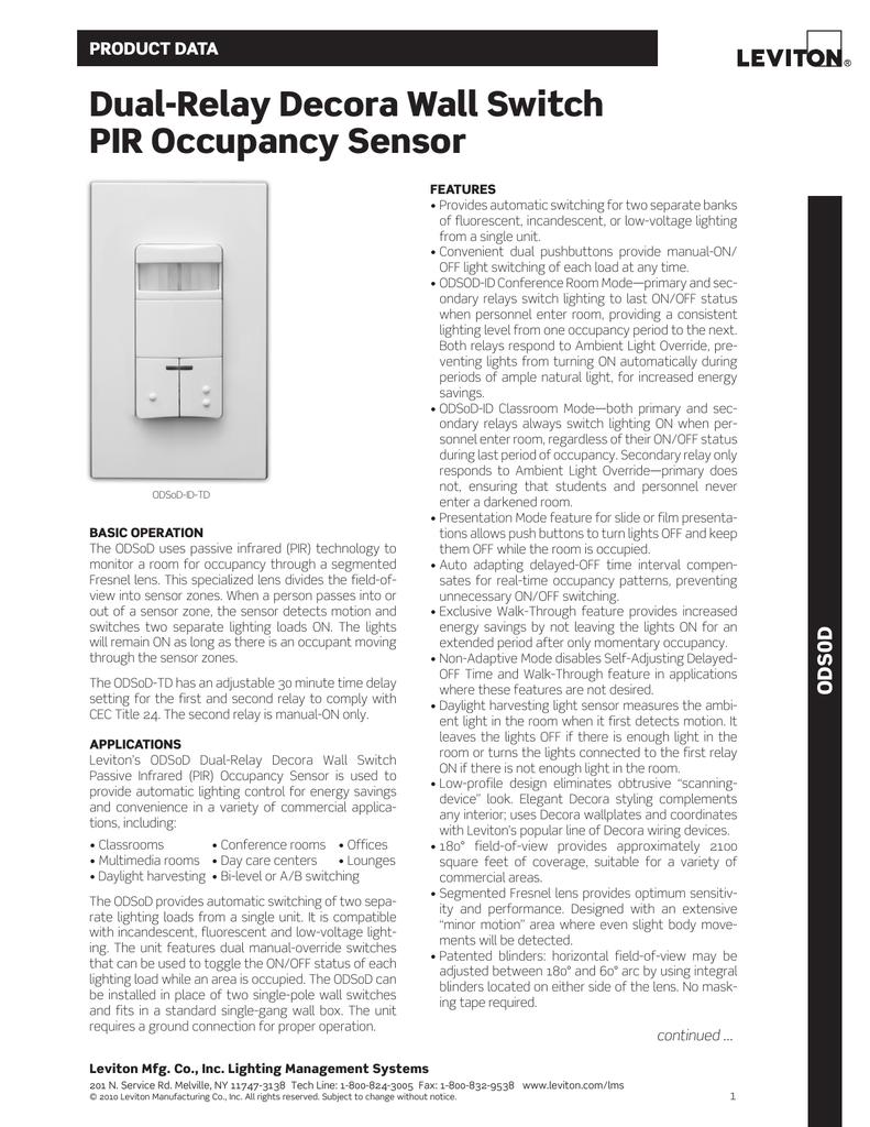 dual-relay decora Wall Switch pIr occupancy Sensor