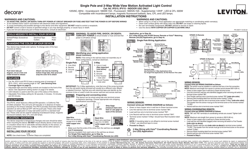 [SCHEMATICS_4LK]  LV-IPS15-1LZ Leviton Universal Wall Switch Occupancy Sensor | Leviton Occupancy Sensor Wiring Diagram |  | Studylib