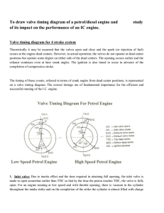 To draw valve timing diagram of a petrol/diesel engine and study of