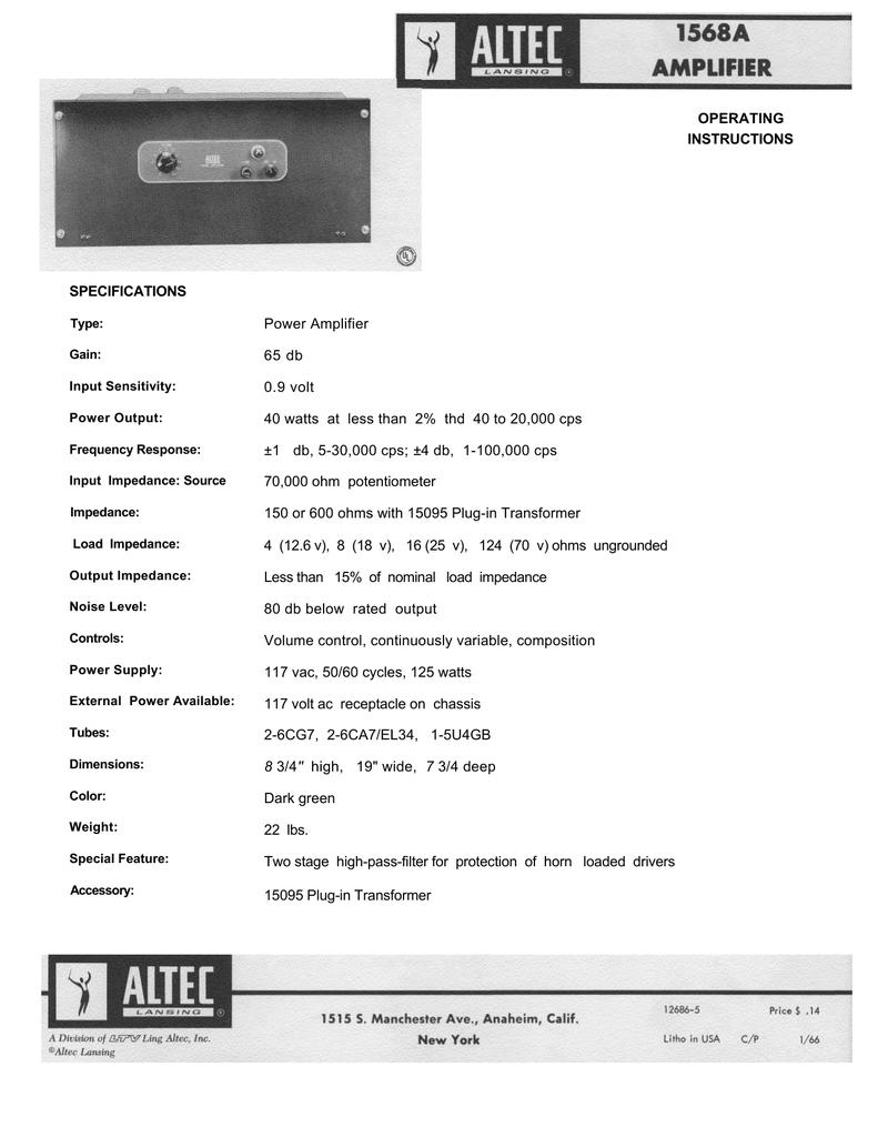Altec 1568A amplifier maunal