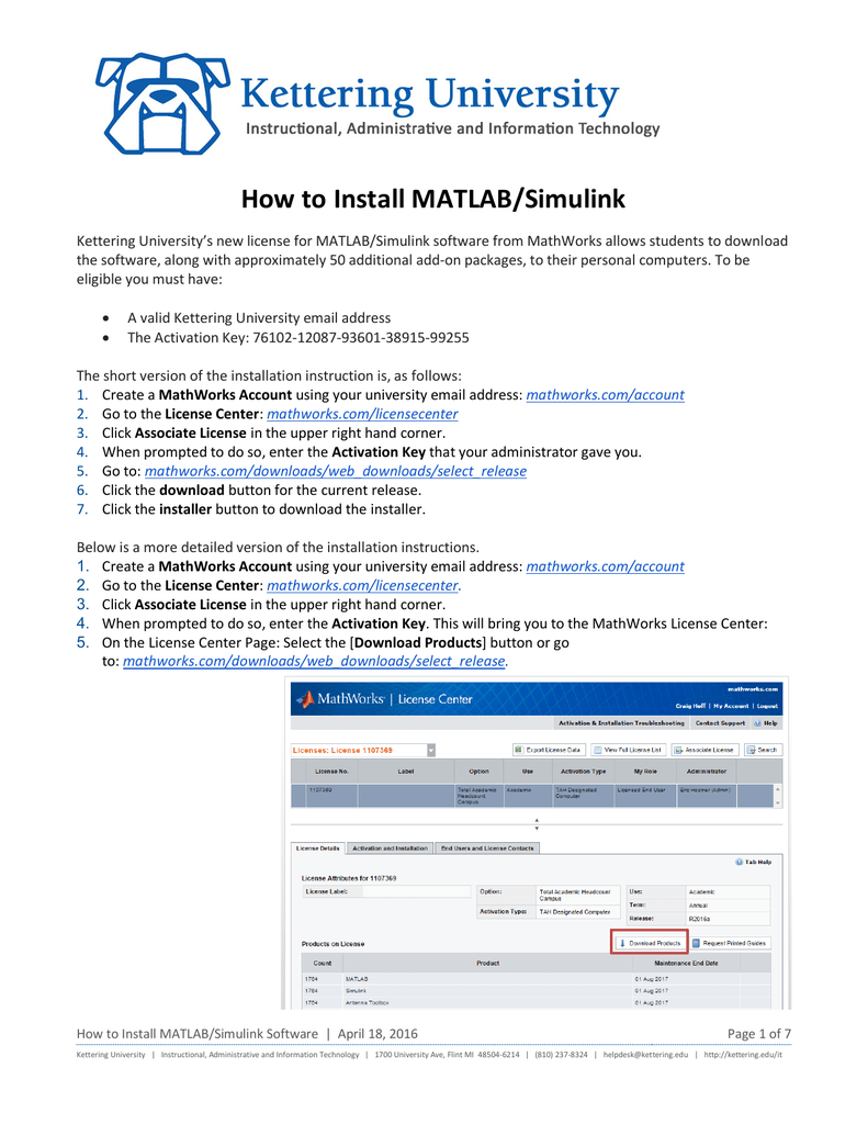 How to Install MATLAB/Simulink - My Kettering