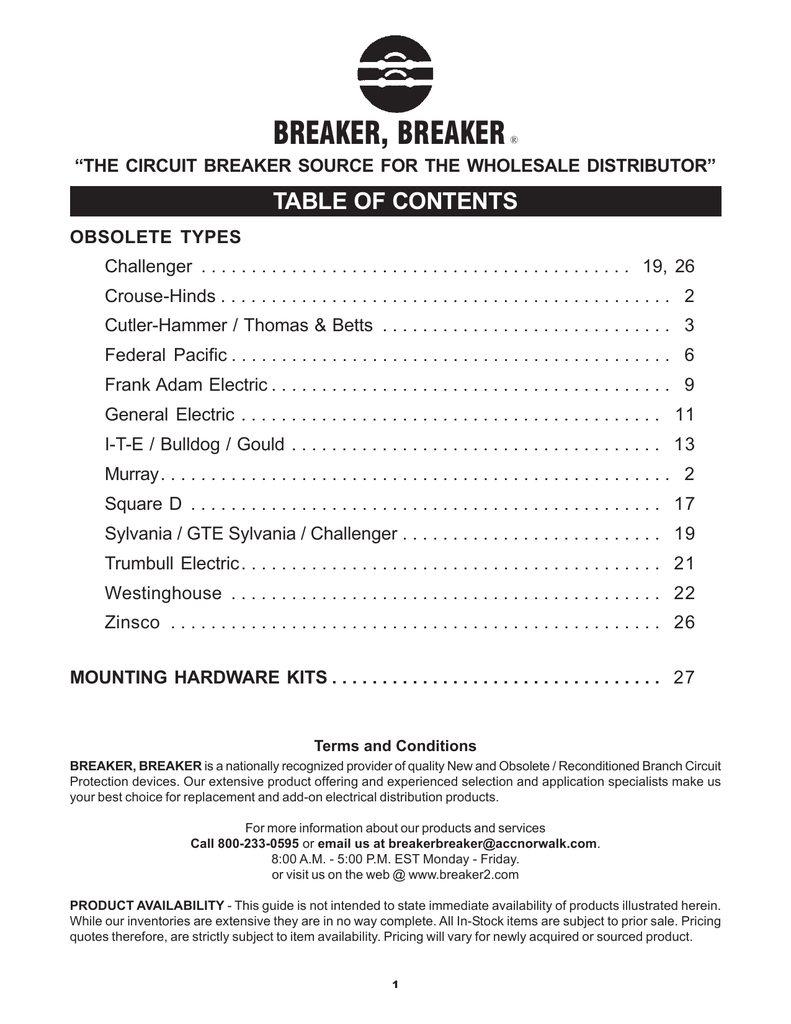 Obsolete Breaker Guide