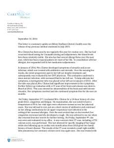 September 14, 2016 This letter is a summary update on Hillary