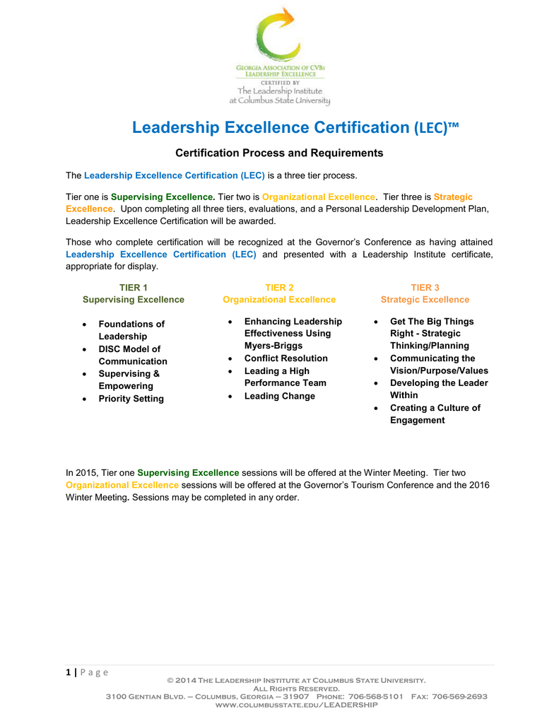 Leadership Excellence Certification Lec