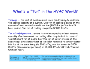 "What`s a ""Ton"" in the HVAC World?"