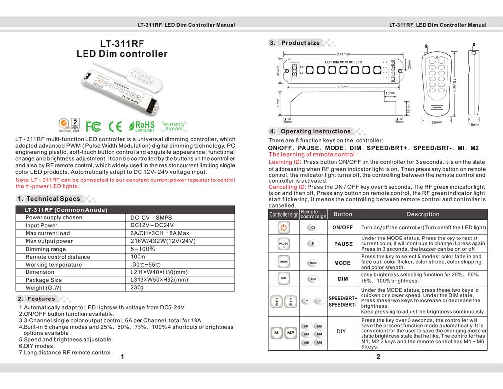 Lt 311rf Led Dim Controller 24v Power Supply 18a Single Output