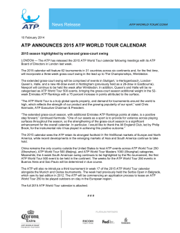 ATP Announces 2015 ATP World Tour Calendar