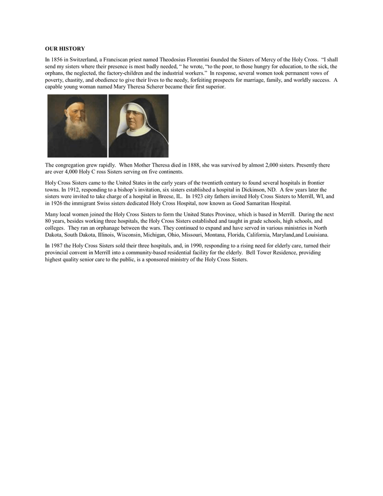 OUR HISTORY - Holy Cross Sisters