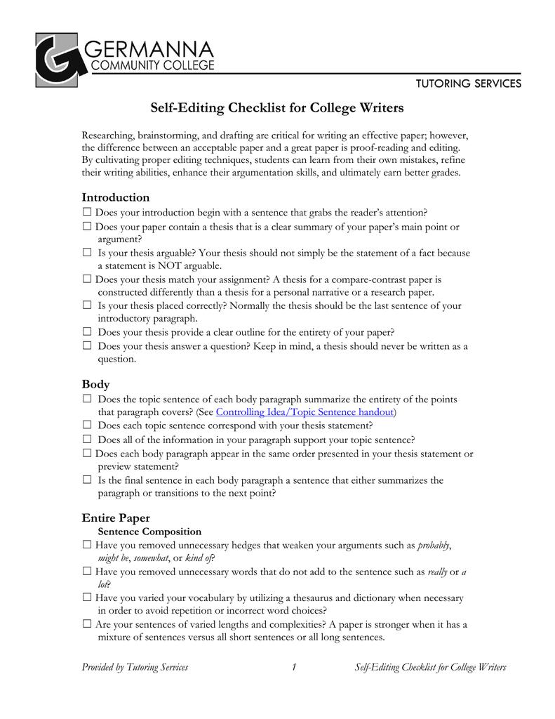 student self editing checklist