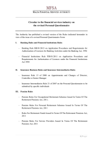 Circular to the financial services industry on the revised Personal