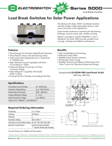 Load Break Switches For D.C. Power Applications