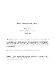 What Use is Economic Theory? - University of California, Berkeley