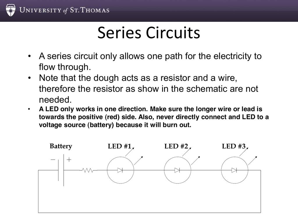 Series Circuits University Of St Thomas Circuit Electricity