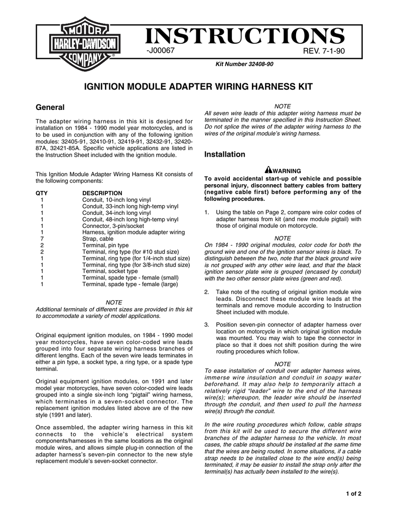 Ignition Module Adapter Wiring Harness Kit - Harley on wiring harness, harley ignition module harness, ignition switch harness, ignition module coil, ignition control module harness 4.1l, rx-8 ignition coil wire harness, ignition system diagram, q45 ignition coil wire harness,