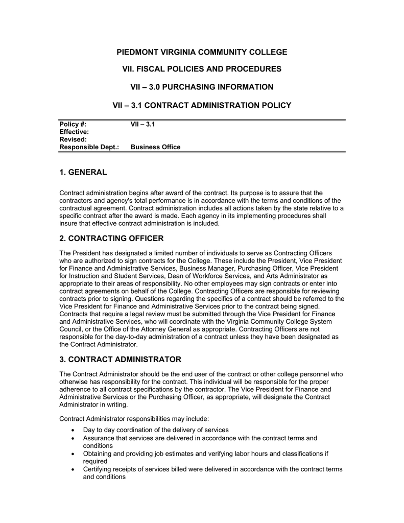 Contract Administration Policy Piedmont Virginia Community College – Contract Administrator Job Description