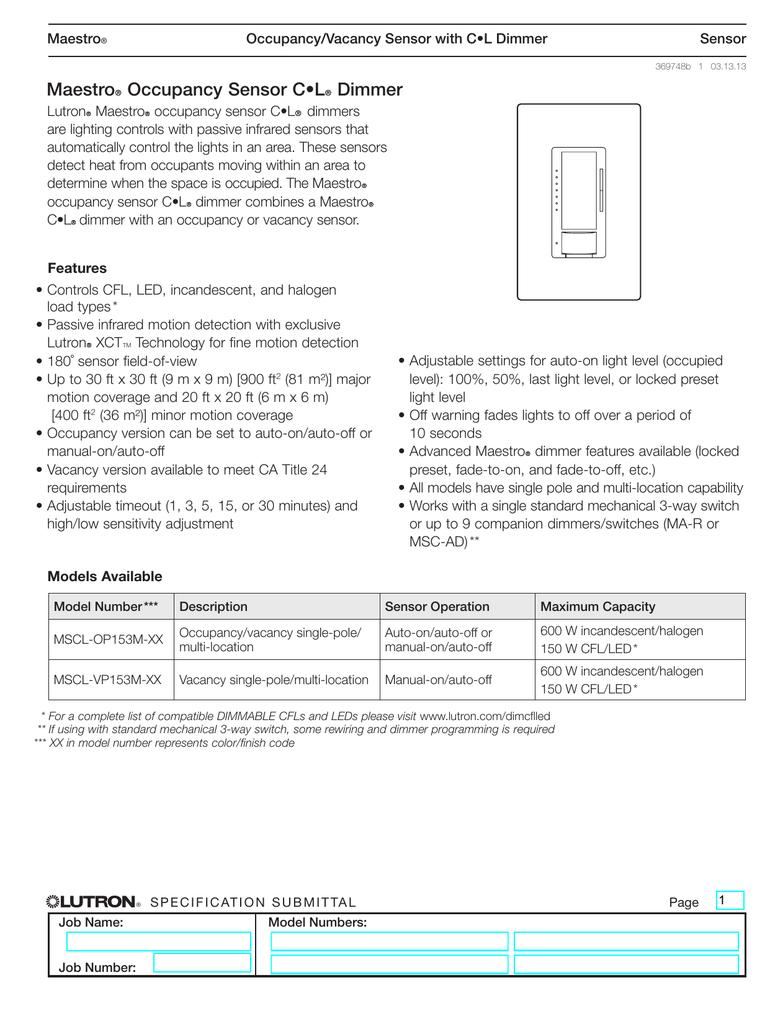 Lutron Maestro Mscl Vp153m Iv Spec Sheet