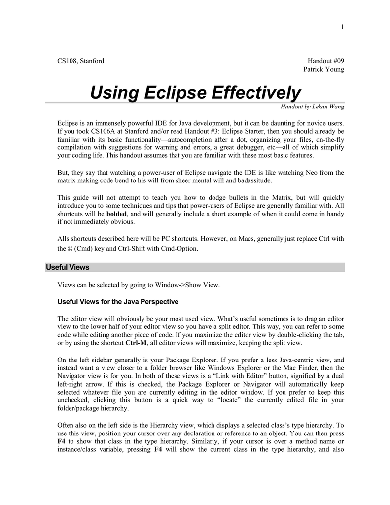 Using Eclipse Effectively