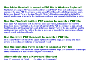 Use the Firefox© built-in PDF reader to search a PDF file Use the
