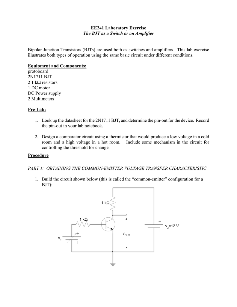 Ee241 Laboratory Exercise The Bjt As A Switch Or An Amplifier Transistor Driver Circuit Diagram Basiccircuit 018428039 1 3413fedeee32f85d72859b5ea5dbc284