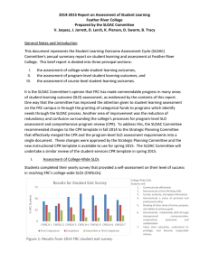2014-2015 Report on Assessment of Student Learning Feather