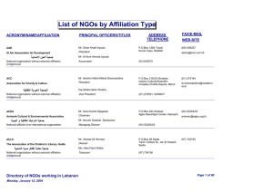 List of NGOs by Affiliation type