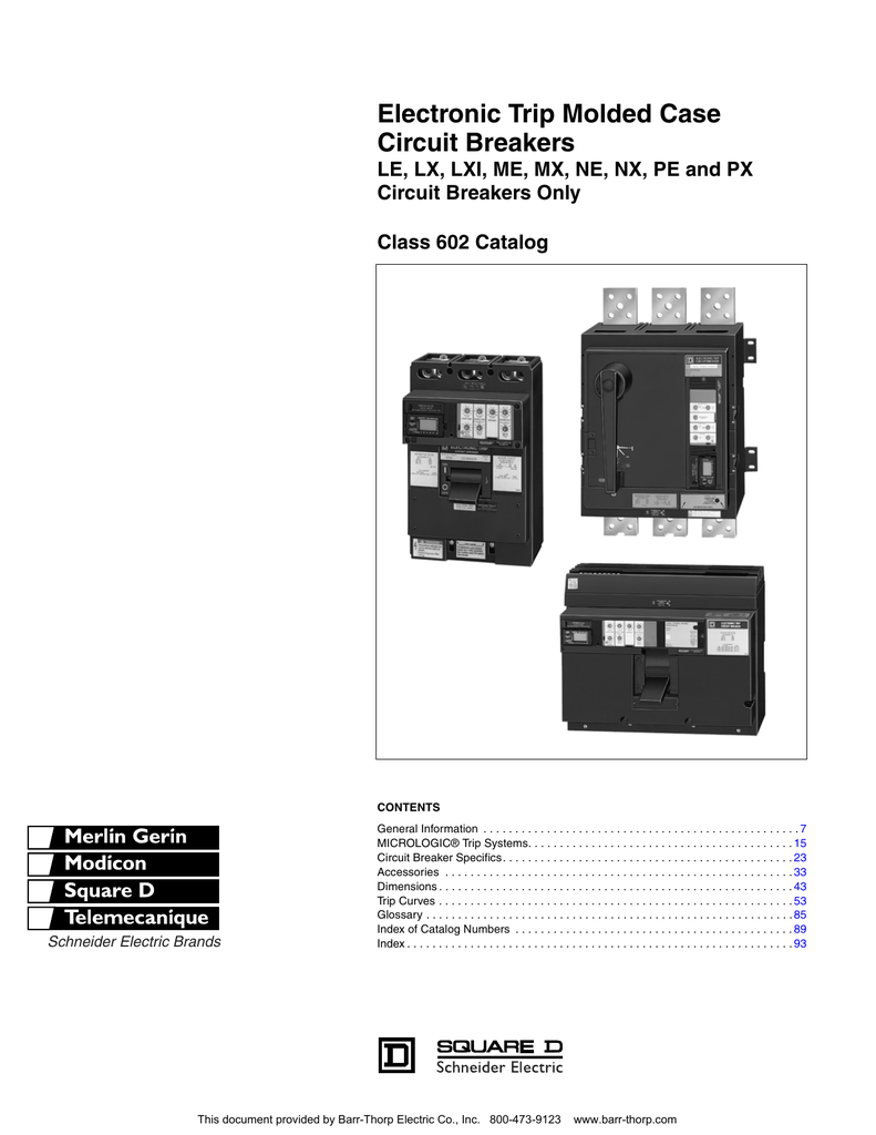 Electronic Trip Molded Case Circuit Breakers Barr 450 43le Wiring Diagram