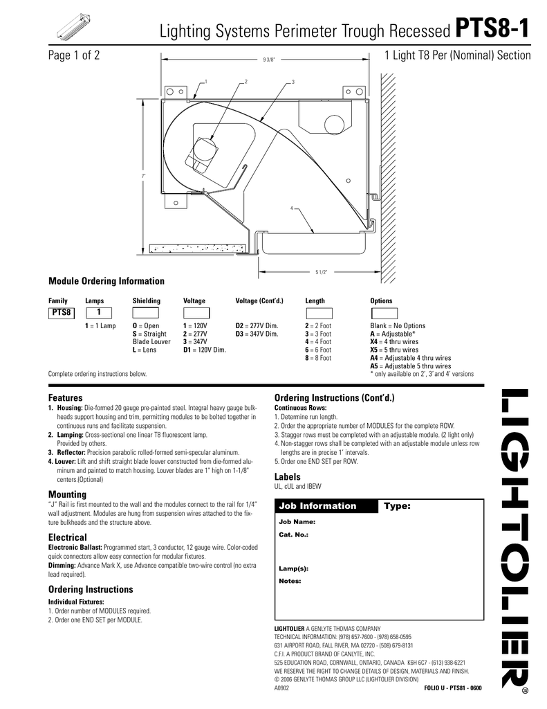 Lighting Systems Perimeter Trough Recessed Pts8 1 Programmed Start Ballast Wiring Diagram