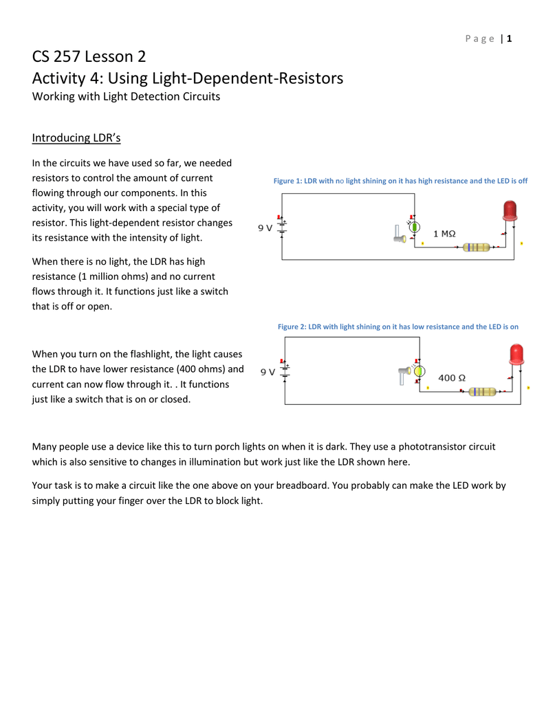 CS 257 Lesson 2 Activity 4: Using Light-Dependent