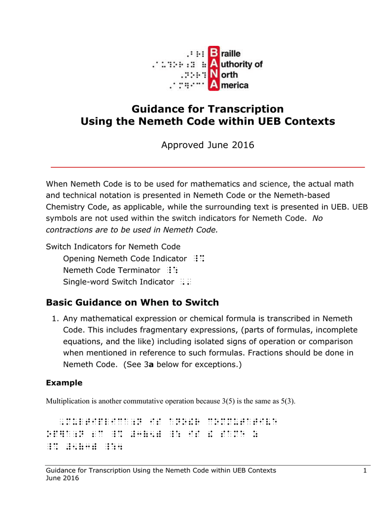 Provisional Guidance For Transcription Using The Nemeth Code