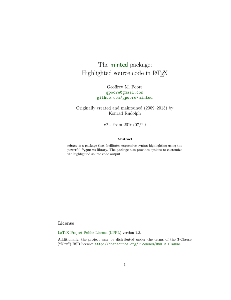 The minted package: Highlighted source code in LaTeX