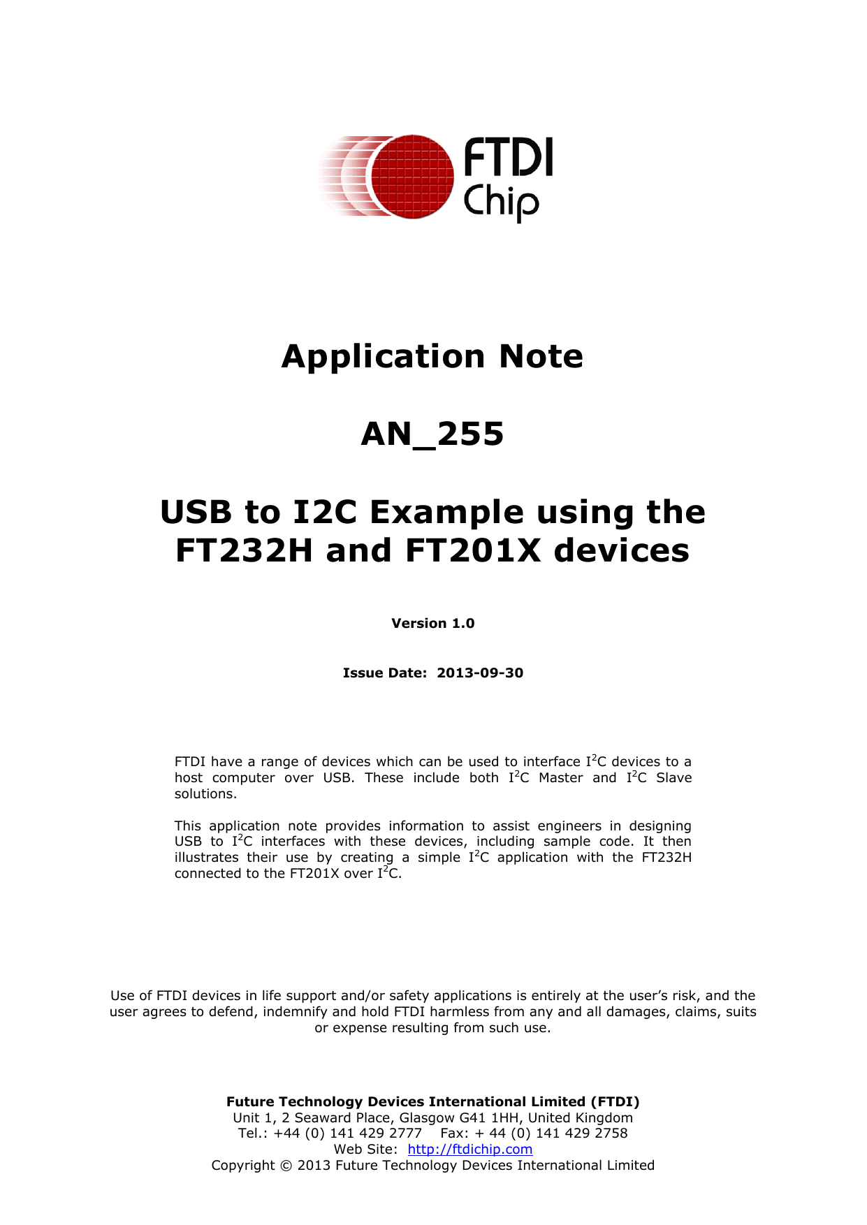 USB to I2C Example using the FT232H and FT201X devices