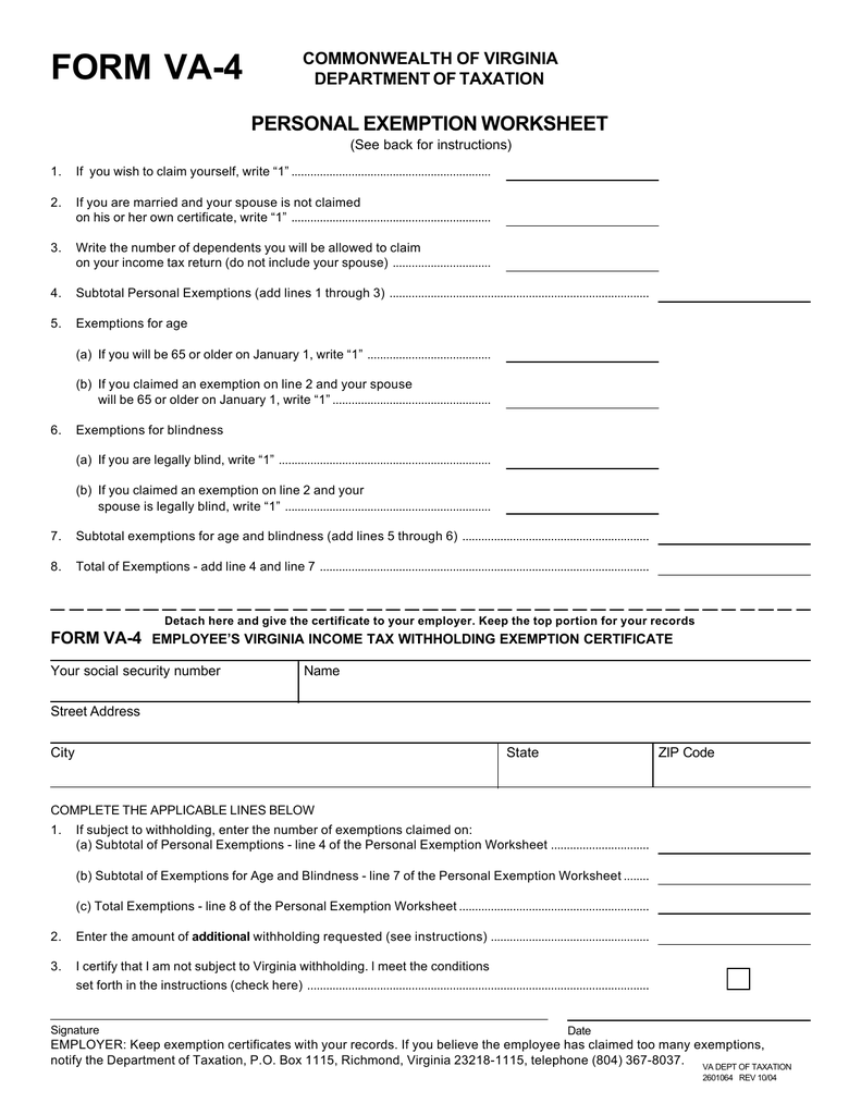 Form VA4 Employees Virginia Income Tax Withholding – Exemption Worksheet