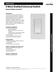 Z-Wave Enabled Universal Switch