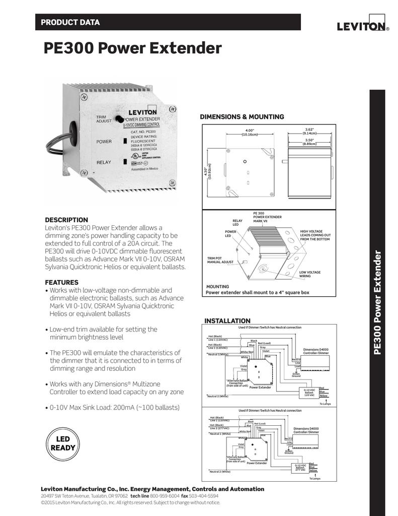 Leviton PE300-D0W Power Extender 0-10VDC Ballast Control