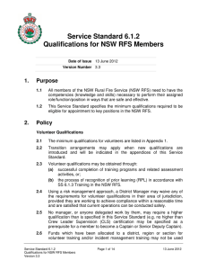 Service Standard 6.1.2 Qualifications for NSW RFS Members