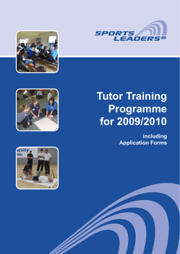 Tutor Training Programme for 2009/2010