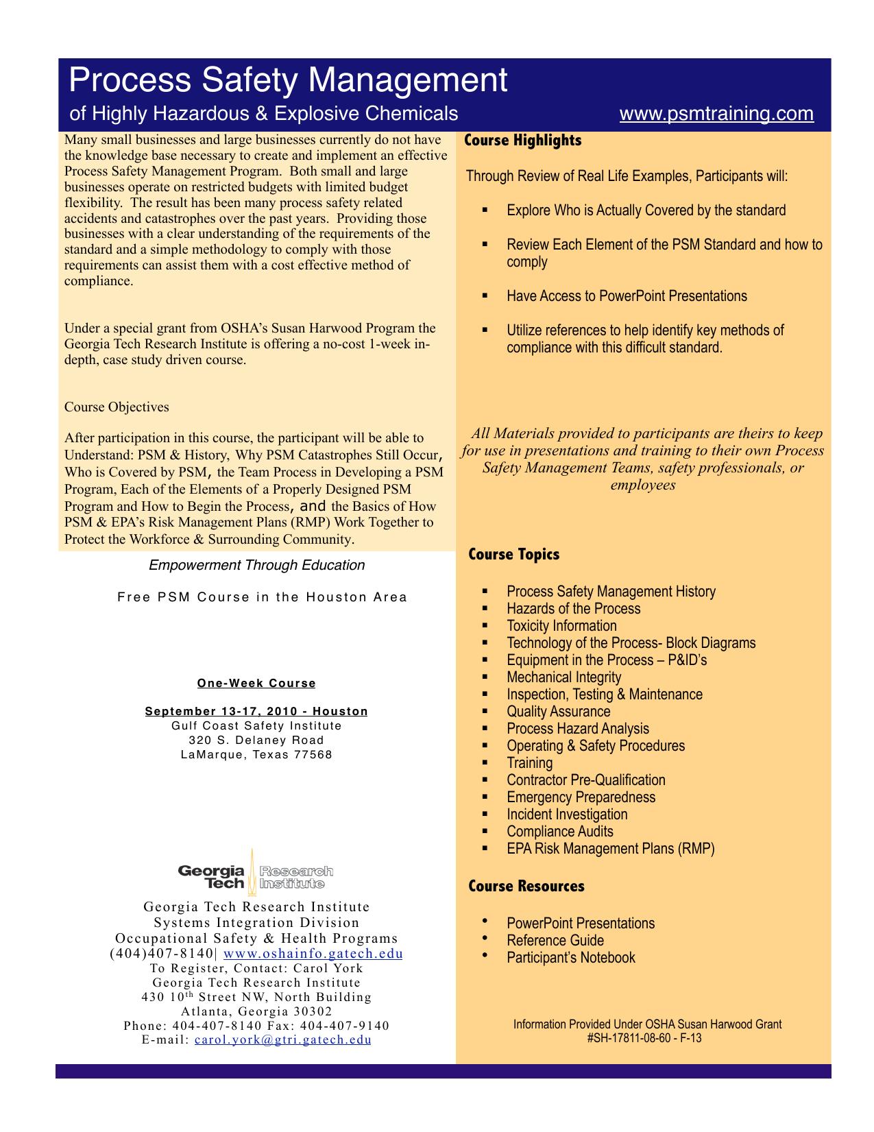 PSM One Day Flyer v3 3 Houston - process safety management