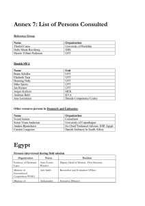 Annex 7: List of Persons Consulted Egypt