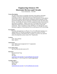 Engineering Sciences 154 Electronic Devices and Circuits