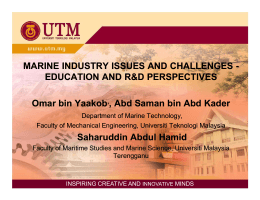 MARINE INDUSTRY ISSUES AND CHALLENGES MARINE