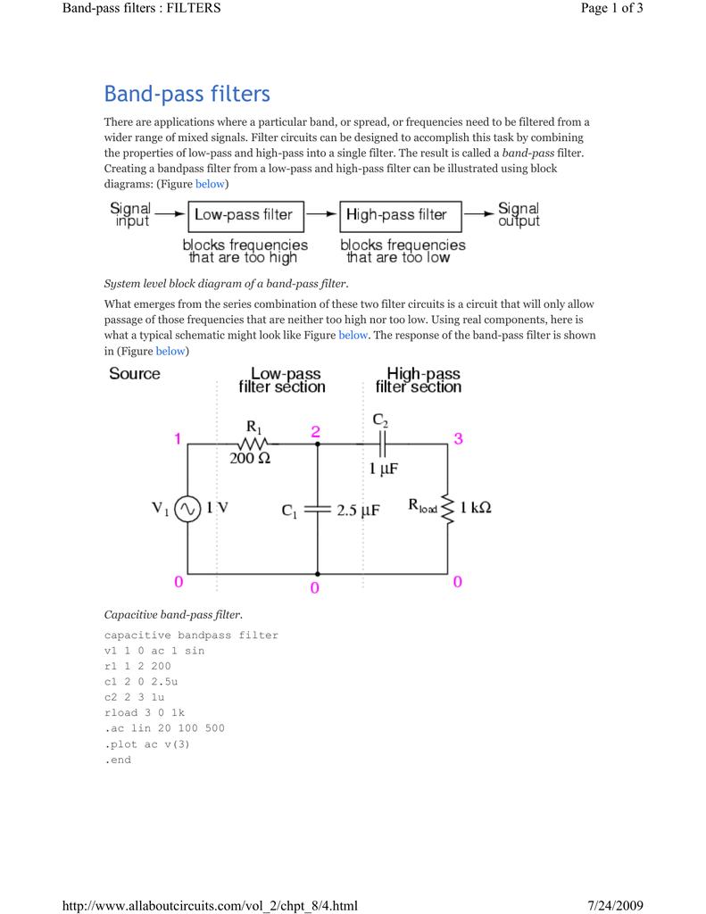 Band Pass Filters High Filter Diagram